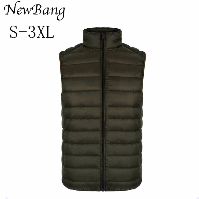 2016 New Sleeveless Jacket Men Vest Ultra Light Duck Down Coat Waistcoat Plus Size XXXL gilet homme