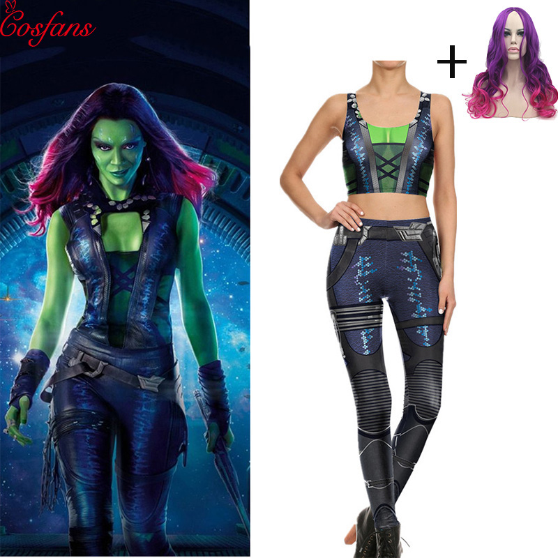 2019 Avengers:Infinity War Gamora Cosplay Costume Leggings With Vest Yoga Suit Guardians Of The Galaxy Cosplay Costume And Wigs