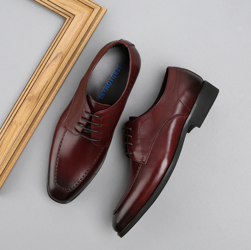 Brand Spring And Autumn Men Business Casual suit shoes Genuine Leather Men Shoes British Fashion Wedding Dress Shoes in Formal Shoes from Shoes