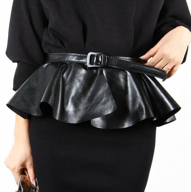 Women's Runway Fashion Pu Leather Ruffles Cummerbunds Female Dress Corsets Waistband Belts Bow Decoration Wide Belt R1005