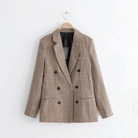 Women Plaid Blazer Ladies Long Sleeve Work Wear Casual Female Outerwear