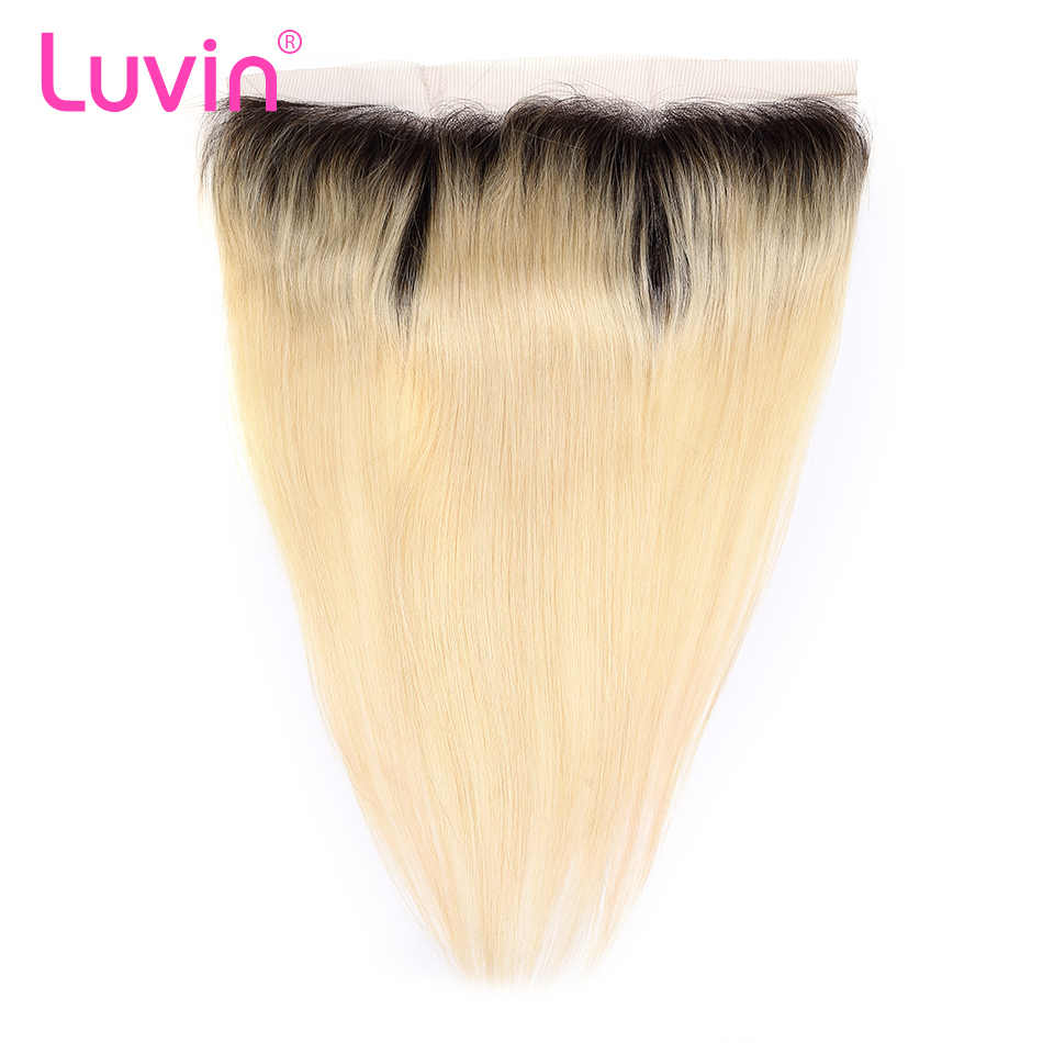 Luvin Ombre Blonde T1B/#613 Lace Frontal Closure Pre Plucked Straight 13x4 Transparent Lace With Baby Hair Remy Hair