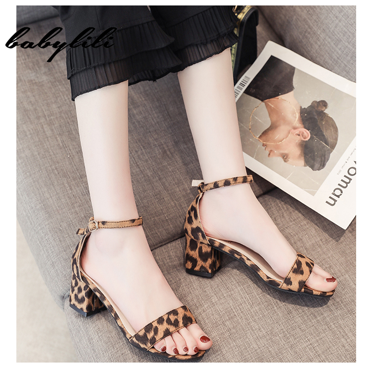 2019 Leopard Gladiator Sandals Summer Office Low Heels Shoes Woman Buckle Strap Casual Women Shoe Square Heel Sandalia feminina2019 Leopard Gladiator Sandals Summer Office Low Heels Shoes Woman Buckle Strap Casual Women Shoe Square Heel Sandalia feminina