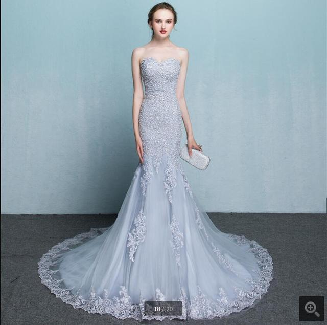 2a406ac9bfd 2016 new designer mermaid silver lace appliques prom dress strapless chapel  train formal prom gowns beaded dress best selling