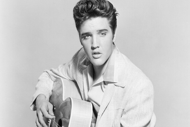 Elvis Presley Rock and Roll music singer guitar black and white ...