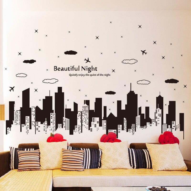 Buildings Silhouette Wall Stickers Black Stencil Men Home