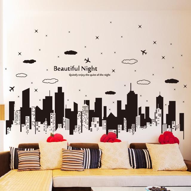 Buildings Silhouette Wall Stickers Black Stencil Men Home Rooms Office  Salon Decor Modern City Vinyl Wallpaper Part 20