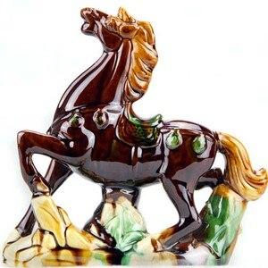 Ceramiczne Feng Shui Wang Cai koń rzemiosło ozdoby zwierząt kreatywne wyposażenie domu biura dekoracji pomyślny prezent ślubny