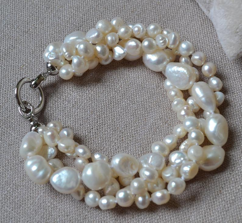 New Arriver Real Pearl Bracelet 8inches 4rows White Color Freshwater Pearl Bracelet Perfect Women Gift Wedding Birthday Jewelry New Arriver Real Pearl Bracelet 8inches 4rows White Color Freshwater Pearl Bracelet Perfect Women Gift Wedding Birthday Jewelry