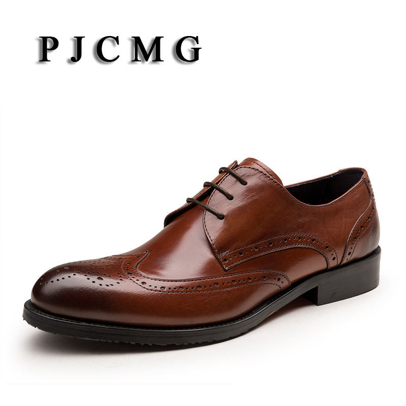 PJCMG New Fashion Brown / Black Oxfords Business Mens Lace-Up Pointed Toe Dress Genuine Leather Wedding Mens Office Shoes pjcmg new black red mens oxfords crocodile pattern lace up pointed toe genuine leather business formal men wedding office shoes