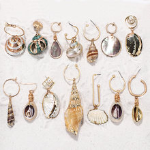 ZA 2019 New Hot Natural Sea Shell Drop Dangle Earring for Women Trendy Metal Maxi Geometric Statement Beach Party Jewelry(China)