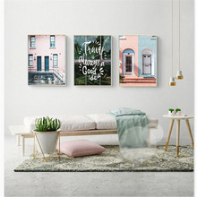 HAOCHU Nordic Canvas Painting Home Decoration Modern Pink House White Letter Personality Living Room Entrance Poster Art Mural