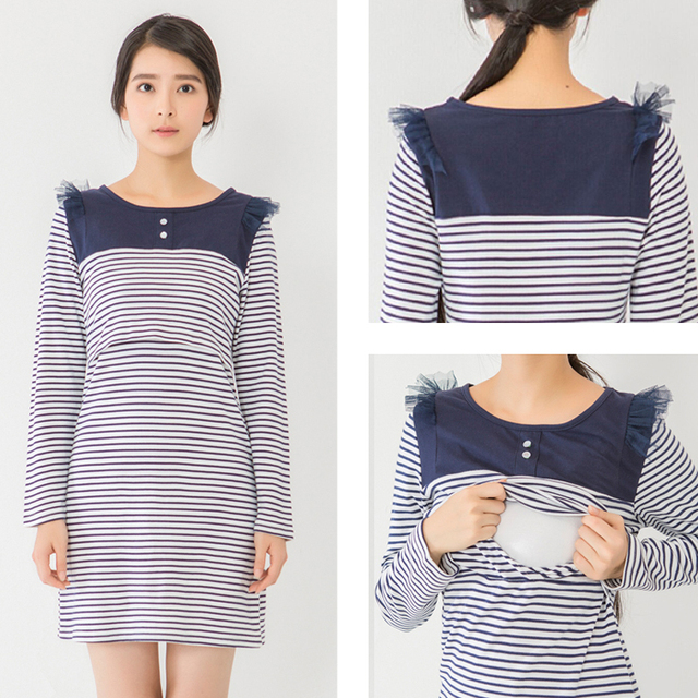 78a323631b8dc Maternity clothes Nursing Dress Autumn Winter striped long sleeve dress  Breastfeeding Dress for Pregnant Women