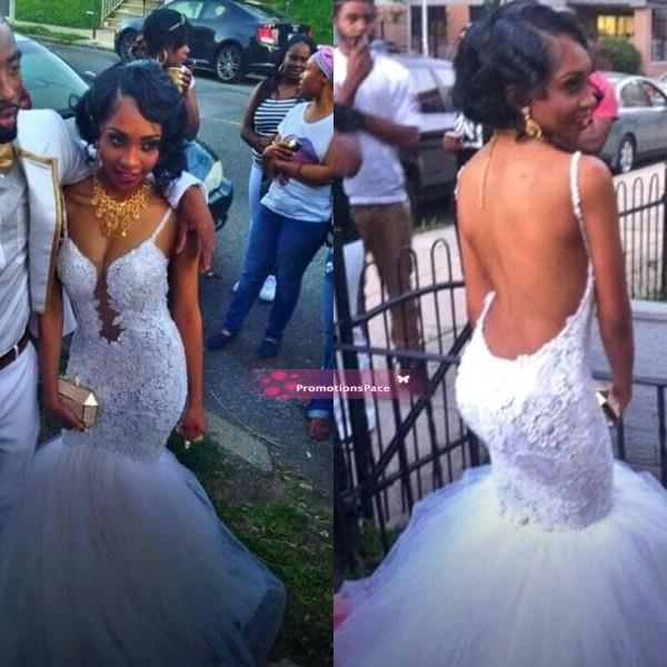 da58cadc26c 2017 African Nigerian White Lace Mermaid Prom Dresses Sexy Backless Straps  Quality Party Evening Formal Occasion Gowns