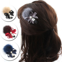 Elegance Mink velvet  Hair Accessories Flower Clips For Girls Woolen Ball Hairpin Handmade Bows