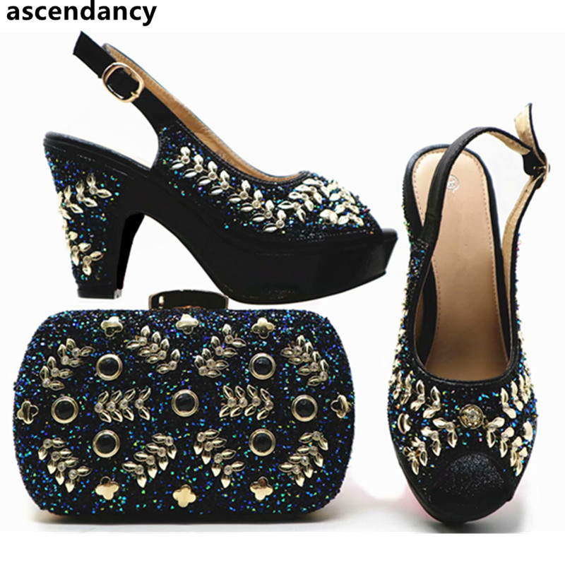 New Arrival Italian Ladies Shoes and Bags To Match Set African Shoe and Bag Set Decorated with Rhinestone Party Shoes with Bag