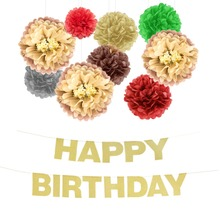 10pcs/set Birthday Party Decorations Gold Glittering Happy Banner Brown Pompom Flowers Chic Supplies