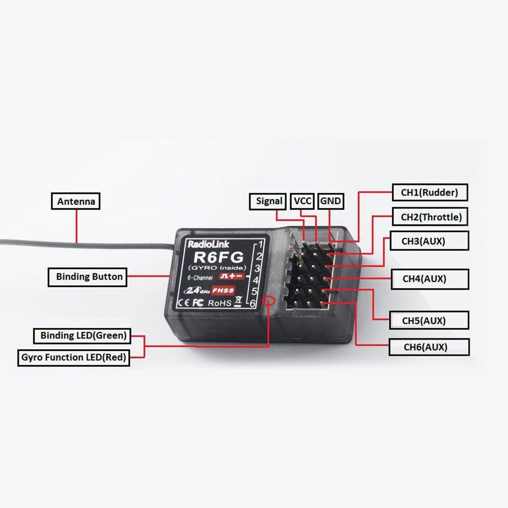 Radiolink R6FG 2,4 ghz 6 Kanal FHSS Empfänger Radio Control System Gyro Integrant Für RC4GS RC3S, RC4G T8FB Sender F21425