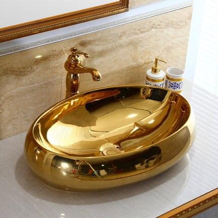 Chapeamento de ouro Oval arte bacia lavatório de cerâmica de estilo Europeu hotel pub handbasin lavatório bancada pia Do Banheiro Bacia Contrária