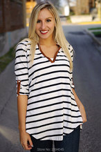 V-Neck Women Tops Blusas 2016 Summer Striped Blouse Slim Casual Seven Sleeve Woman Shirts