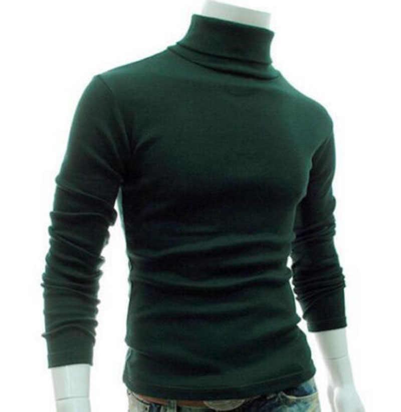 2019 新ブランドファッションホット男性のスリム冬のファッションシンプルなネックタートルネックセーターストレッチジャンパーシャツ
