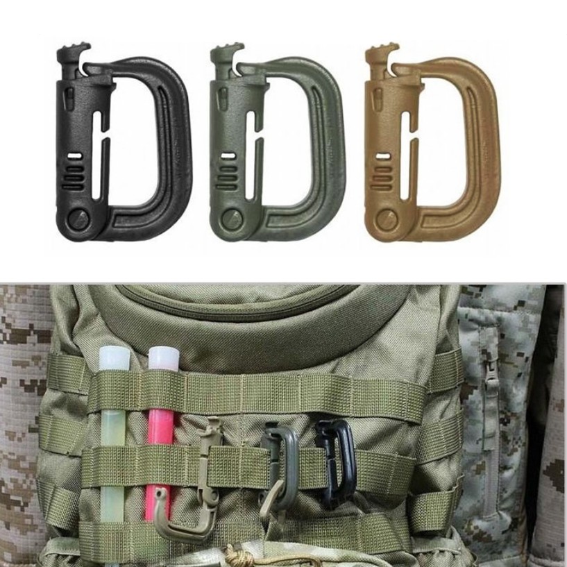 2pcs/set  Attakch Plasctic Shackle Carabiner D-ring Clip Molle Webbing Backpack Buckle Snap  Camp Hike Mountain Climb Outdoor