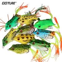 Goture 9 unids o 18 unids de Pesca Top Water Frog Señuelo Artificial De Silicona Suave Cebo 5.5 CM/12.5G superficie/Flotante Pesca Aparejos de Pesca Pesca
