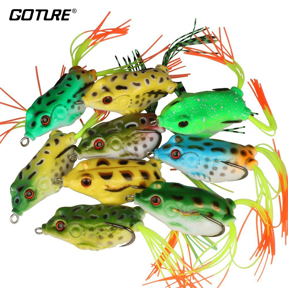 Goture 9pcs or 18pcs Top Water Frog Fishing Lure Soft Silicone Artificial Bait 5.5CM/12.5G Surface/Floating Fishing Tackle Pesca artificial frog fishing lure bait yellow green black 5pcs