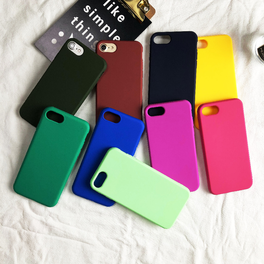 Candy Color Silicone Cases for iPhone 7 Shockproof Anti-Knock TPU Case for iPhone 6 8 7 6s Plus X 5S SE Case Original Protective