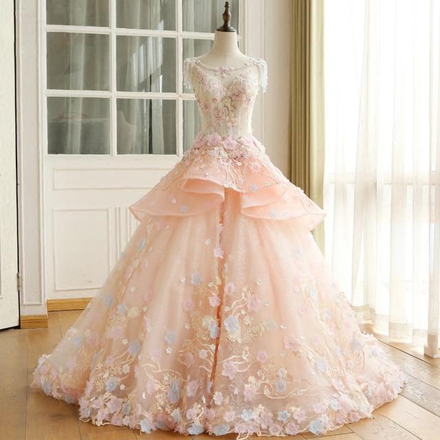 Robe De Mariee Princesse Luxe 2019 Date Dentelle Appliques Fleurs Perles Paillettes Rose Bal Robes Mariée Turquie