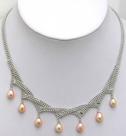 SALE Big 6-7mm Drop Pink natural freshwater pearl 7pcs necklace-nec5072 wholesale/retail Free shipping