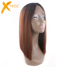 Ombre Black Blonde Red Color Yaki Straight Lace Front Wigs X-TRESS Blunt Natural Hairline Middle Part Synthetic Cosplay Lace Wig
