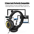 New Folding HiFi Headphones Adjustable 3.5mm Waterproof Music Headset Bass Stereo with Mic Wired For iPod PC Laptop W