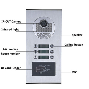 Image 5 - 6 Apartment/ครอบครัววิดีโออินเตอร์คอม RFID IR CUT HD 1000TVL กล้อง 6 ปุ่ม 6 MONITOR