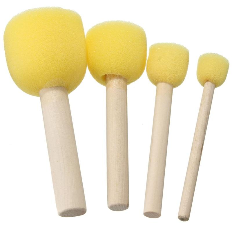 4pcs Round Stencil Sponge Foam Brushes Wooden Handle For