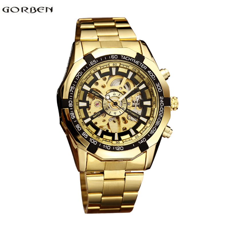 Gorben Luxury Band Automatic Mechanical Watch Men Winner Skeleton Men Watch Gold Wristwatch Winner Mechanical Self-winding все цены