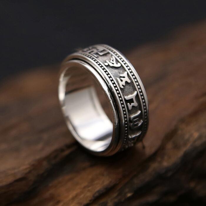 Одноцветное Серебро 925 кольца Для мужчин вращающийся счетчик кольцо плотная лента 100% Pure 925 пробы Серебряные ювелирные изделия Для мужчин s ...