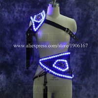 LED Luminous Performance Costumes Illuminated Led Light Up Ballroom Dance Clothes Led Sexy Men Led Stage Props Clothing