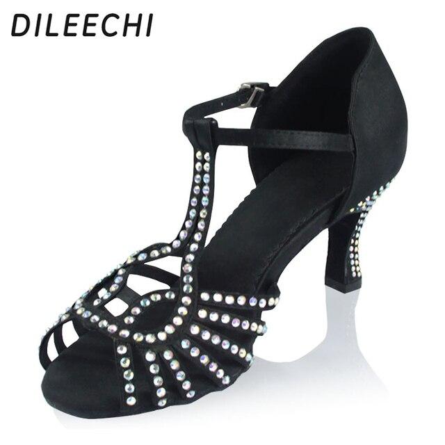 DILEECHI Black Satin Women s Latin dance shoes female soft outsole square  dance shoes Ballroom dancing shoes 5cm 6cm 20840fe0cefa