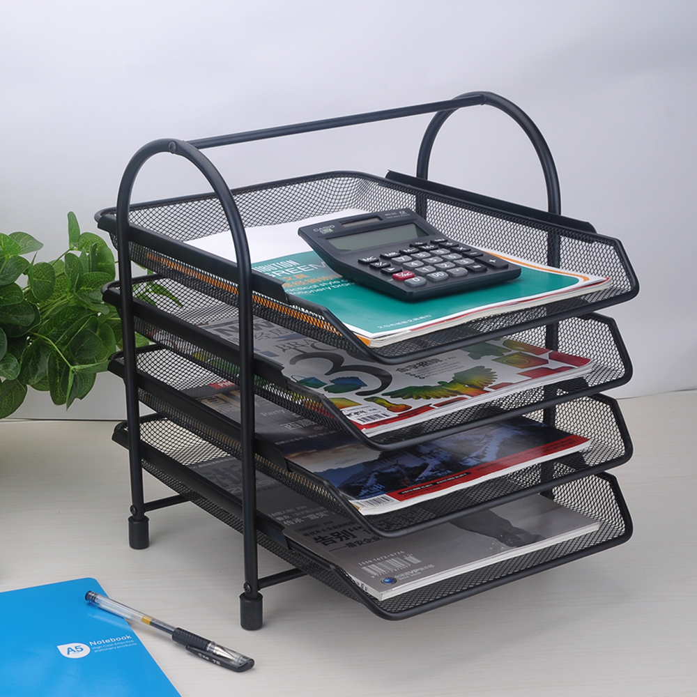 4-Tier Holder Shelf File Document Letter Paper Tray Sorter Collection Office Desktop OrganizerMetal Mesh Black