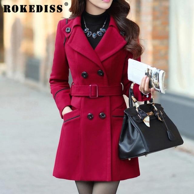 e717280a5f Inverno Das Mulheres de lã casacos sobretudo feminino longo Fino casaco de  lã Da Marinha jaqueta