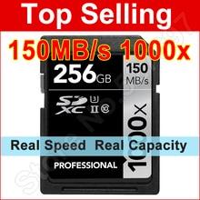 150 MB/S 1000x Tarjeta SD SDHC de 16 GB 32 GB 64 GB 128 GB 256 GB SDXC UHS-II U3 Tarjeta de Memoria Flash Para 3D 4 K Cámara RÉFLEX Digital Videocámara HD