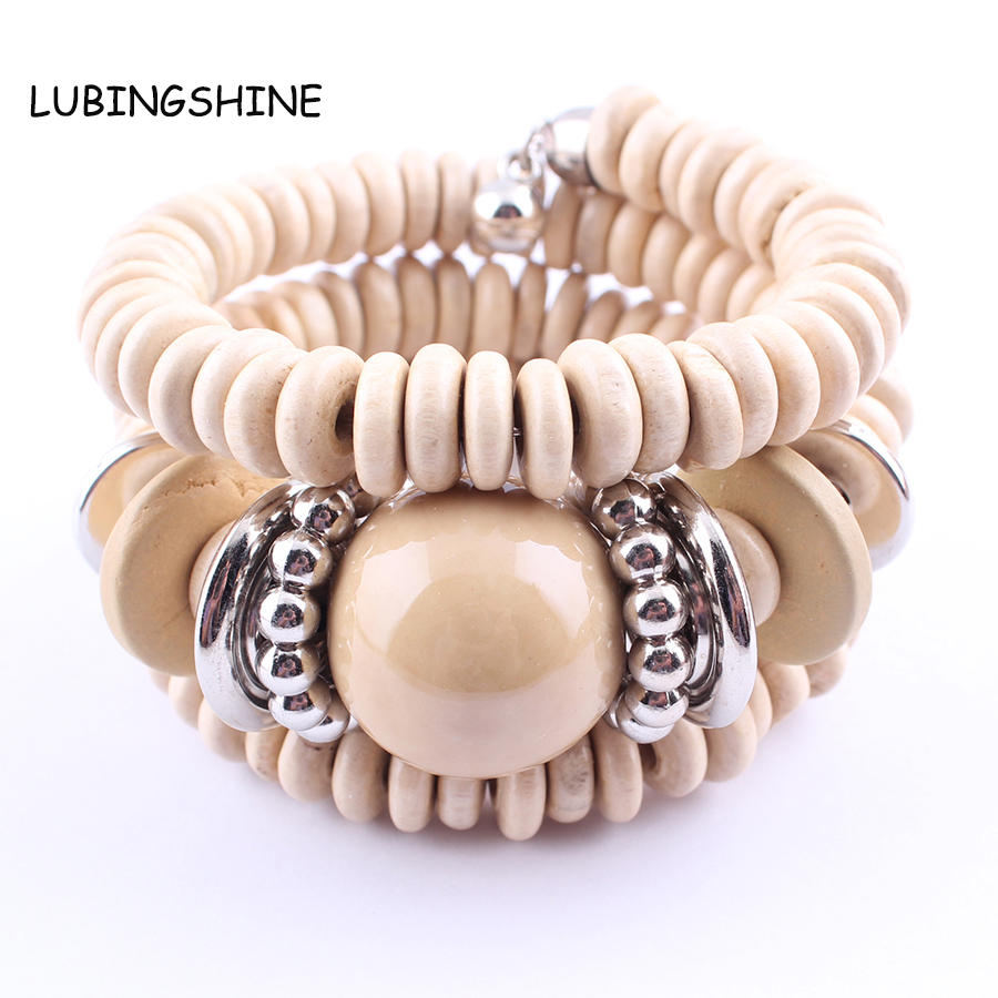 2017 New Multilayer Wood Beads Bracelet Fashion Jewelry ...