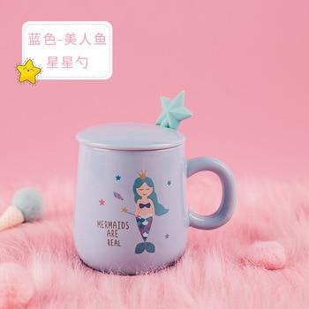 Unicorn Mermaid Coffee Mug with Lid 3D Spoon Ceramic Water Tea Cup Gift for Women Girls Pink