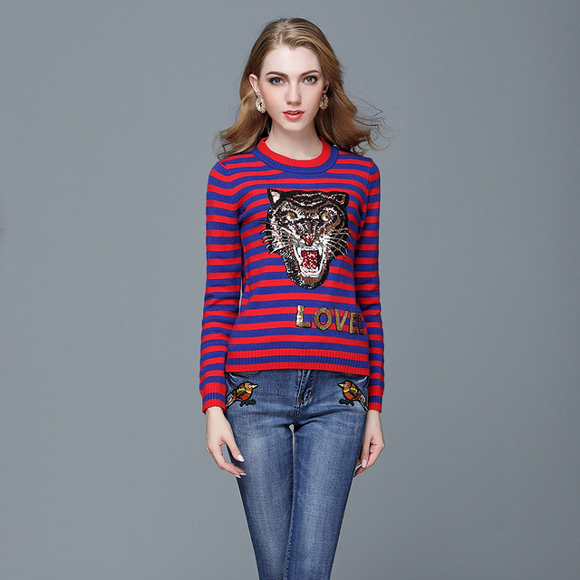 758107e72c Women Round Neck Long Sleeves Embroidery Sequins Tiger Sweater Pullover  Head Heavy Sweater Red Blue Striped Rabbit Velvet Tops