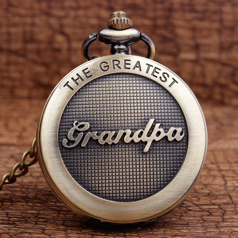 New Arrival Antique The Greatest Grandpa Bronze Quartz Pocket Watch Pendant Chain Men's Top Quality Best Gifts P309-1 my grandpa