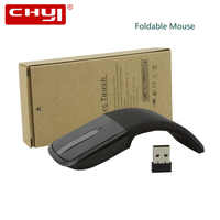 Ratón de ordenador inalámbrico plegable CHYI, ratón de arco táctil, ratón óptico delgado para juegos con receptor USB para ordenador portátil de Microsoft PC