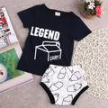 2016 Tops + Pants Bottoms Venda Quente Recém-nascidos Da Criança Infantil bebê Menino Roupas de Menina T-shirt Shorts de Algodão Preto Garrafa de Leite 2 pcs