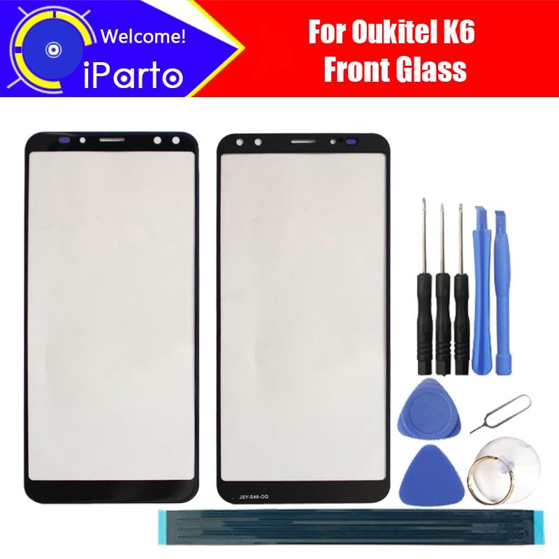 6.0 pouce Oukitel K6 Façade En Verre Écran Lentille 100% Avant D'origine Écran tactile En Verre Extra Objectif pour K6 Téléphone + Outils + adhésif