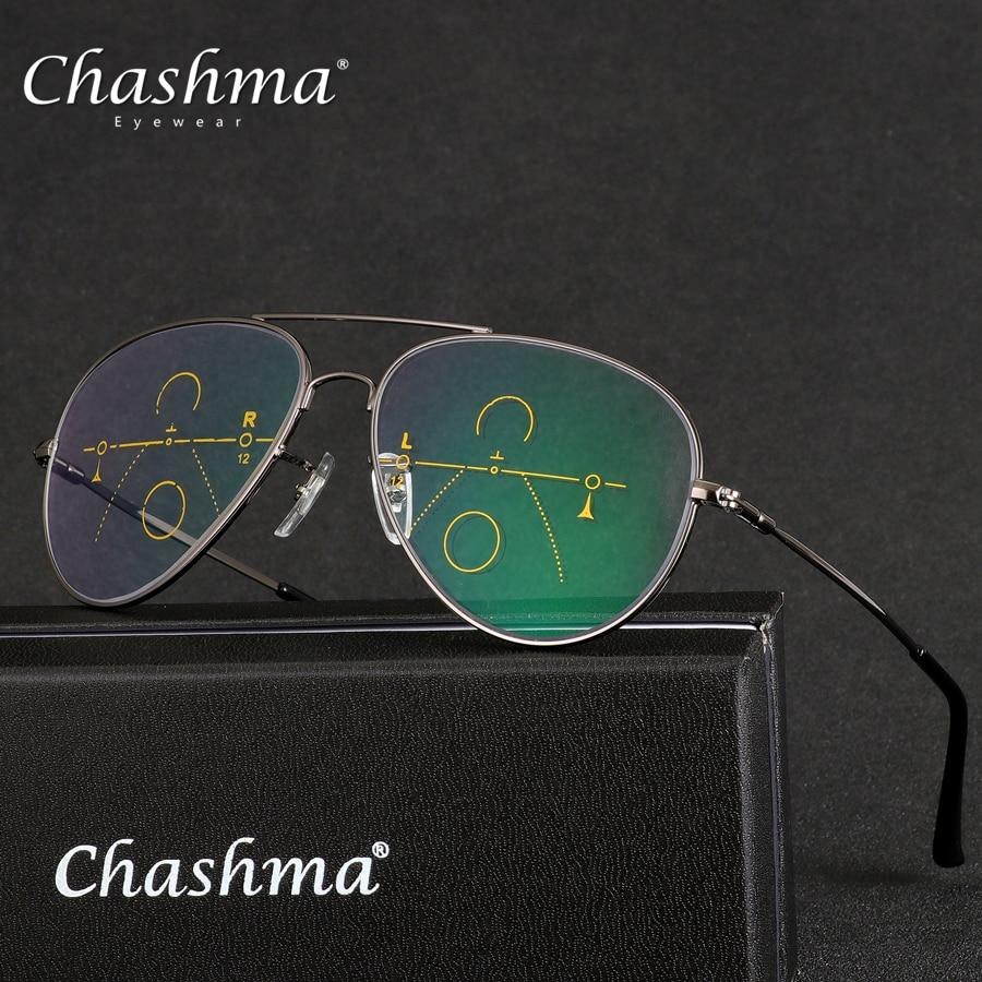 7b77ed4b52 CHASHMA marca Multifocal Progresiva lente gafas De lectura De los hombres  la presbicia hipermetropía bifocales gafas De titanio Oculos De Grau 1,5